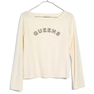 New Madewell Queens Graphic Top Tee Boxy Cropped